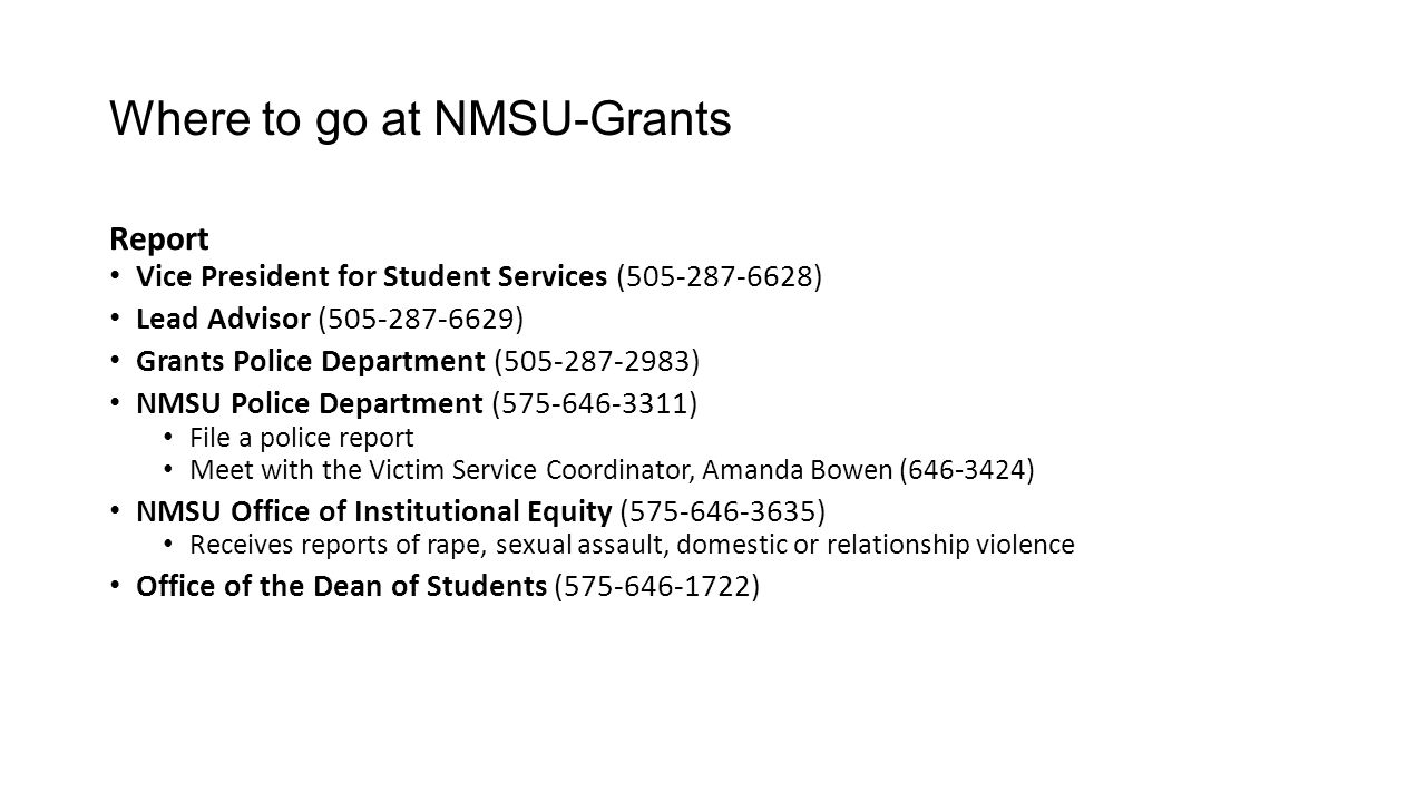 Where to go at NMSU-Grants