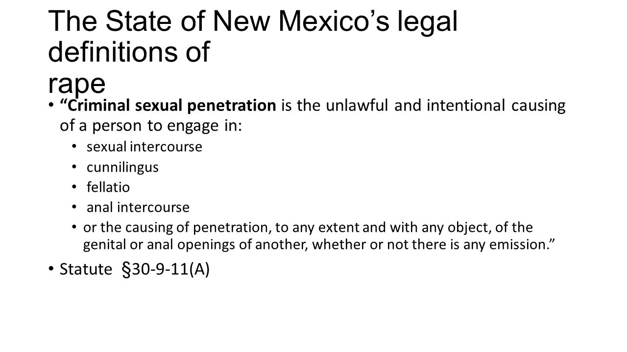 The State of New Mexico's legal definitions of rape