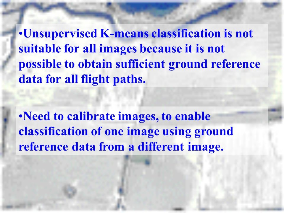 Unsupervised K-means classification is not suitable for all images because it is not possible to obtain sufficient ground reference data for all flight paths.