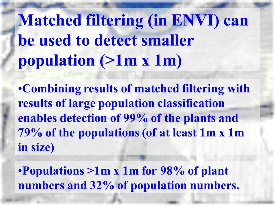 Matched filtering (in ENVI) can be used to detect smaller population (>1m x 1m)