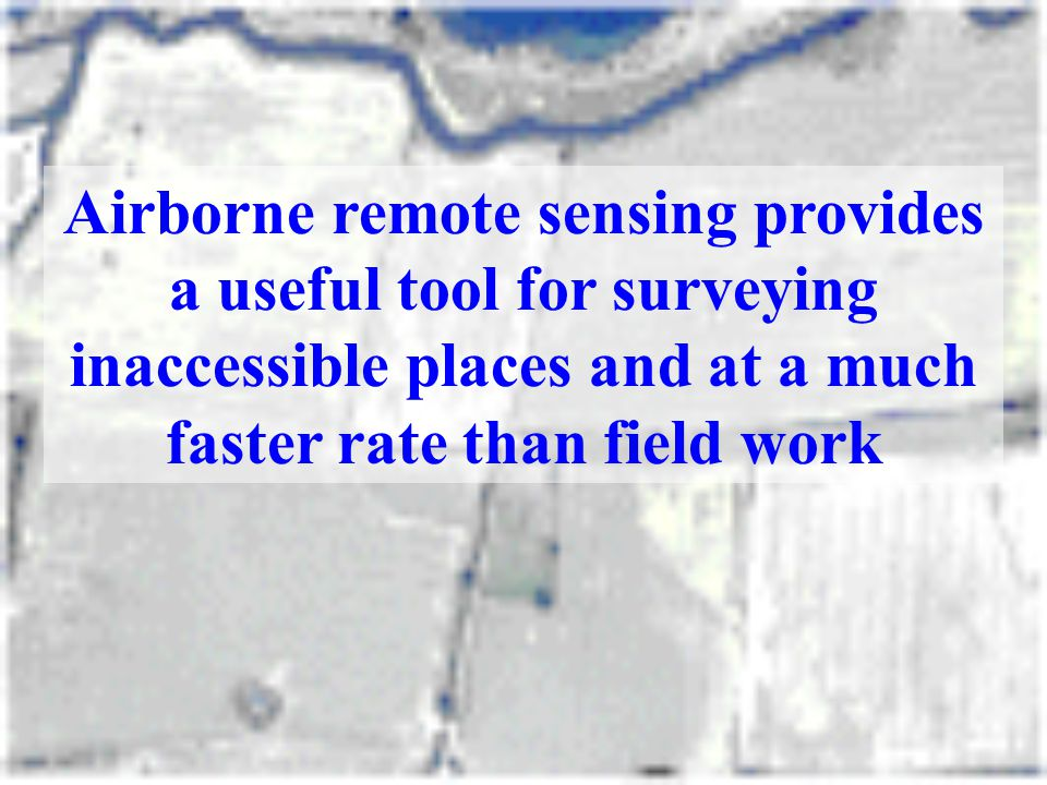 Airborne remote sensing provides a useful tool for surveying inaccessible places and at a much faster rate than field work