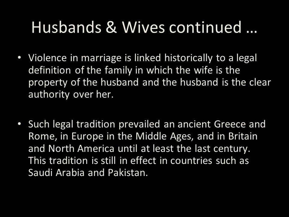 Husbands & Wives continued …