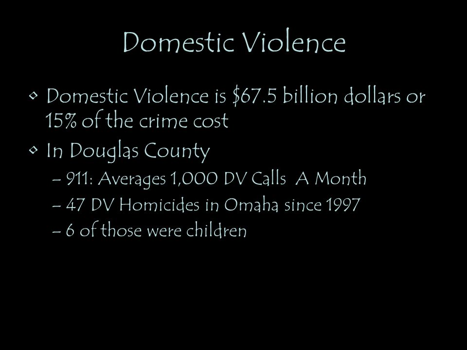 Domestic Violence Domestic Violence is $67.5 billion dollars or 15% of the crime cost. In Douglas County.