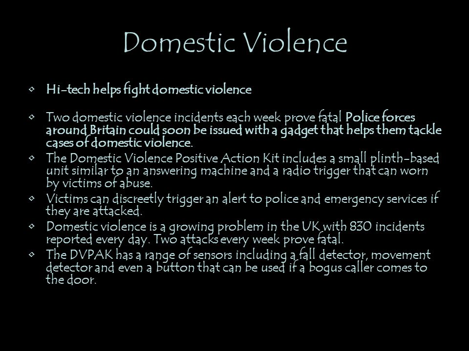 Domestic Violence Hi-tech helps fight domestic violence