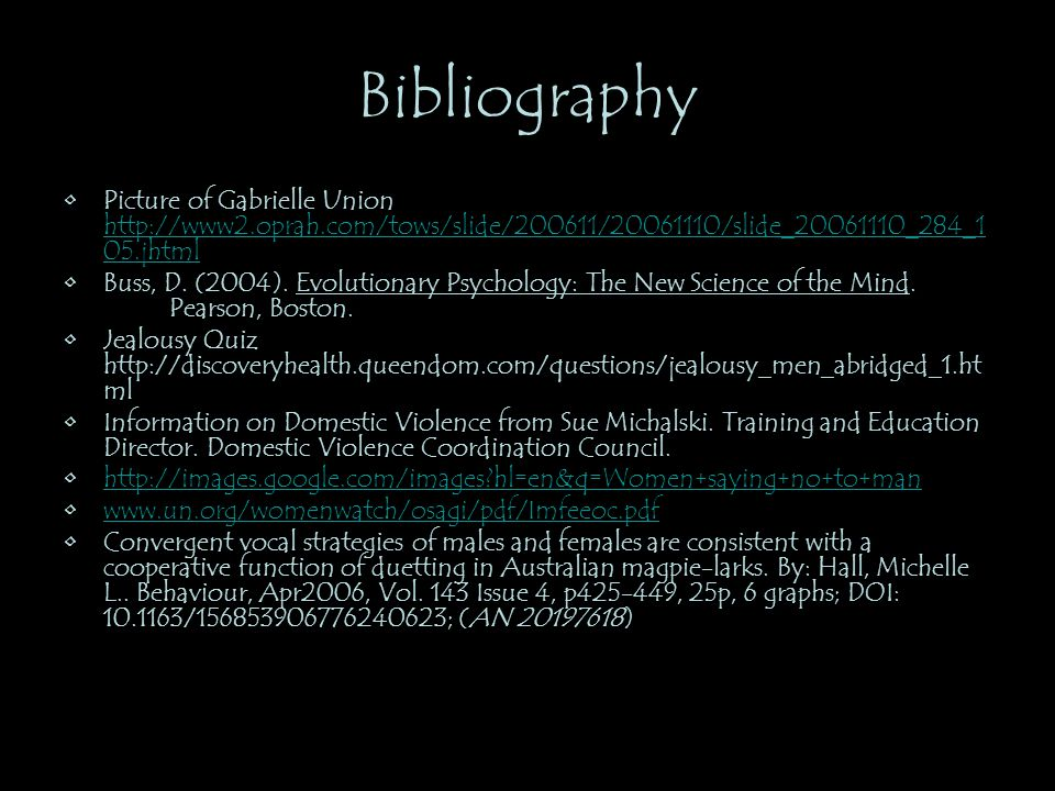 Bibliography Picture of Gabrielle Union http://www2.oprah.com/tows/slide/200611/20061110/slide_20061110_284_105.jhtml.