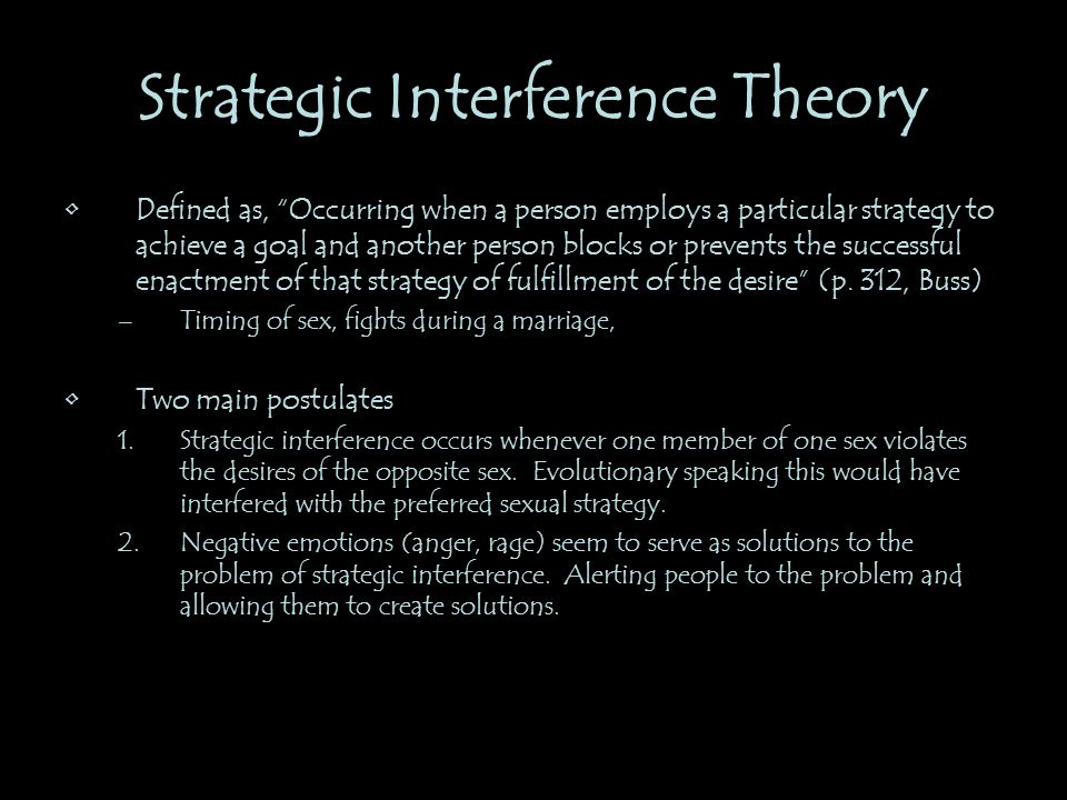 Strategic Interference Theory