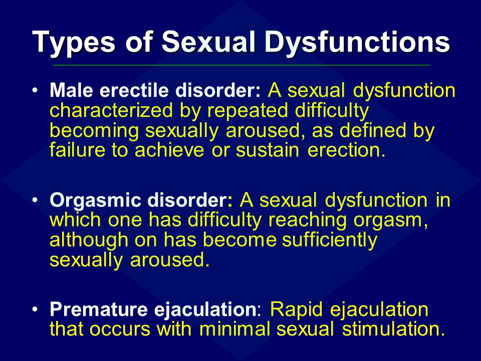Types of Sexual Dysfunctions