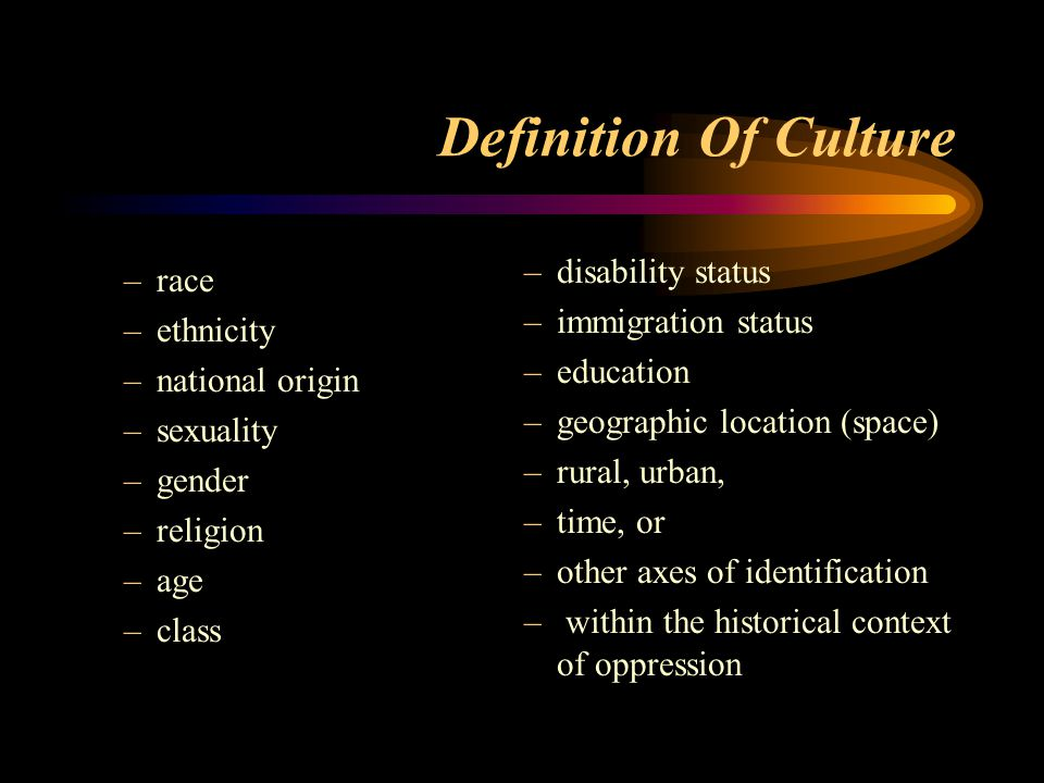 Definition Of Culture disability status race immigration status
