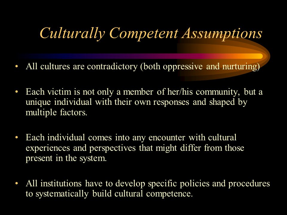 Culturally Competent Assumptions