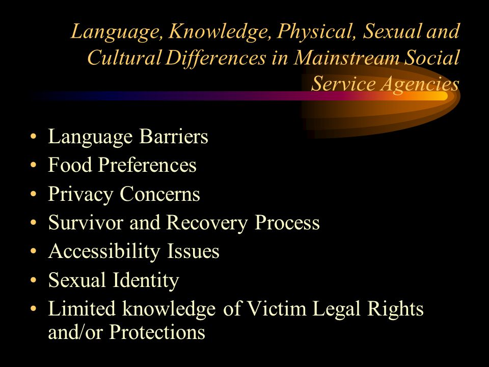 Survivor and Recovery Process Accessibility Issues Sexual Identity
