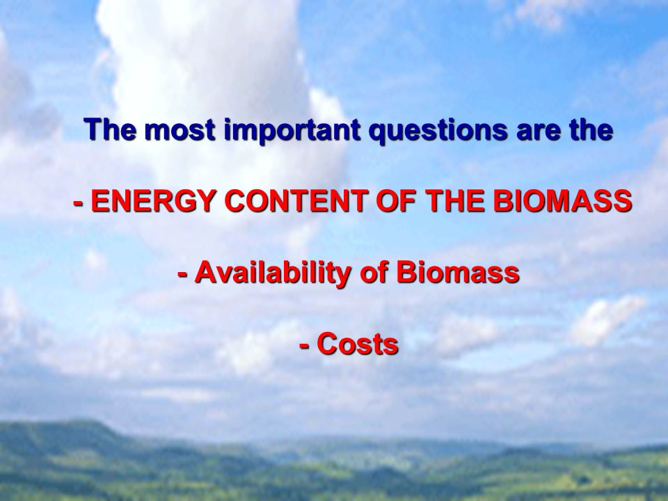 The most important questions are the - ENERGY CONTENT OF THE BIOMASS - Availability of Biomass - Costs