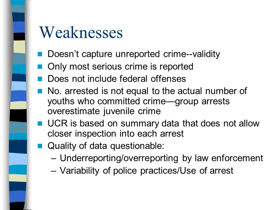 Weaknesses Doesn't capture unreported crime--validity