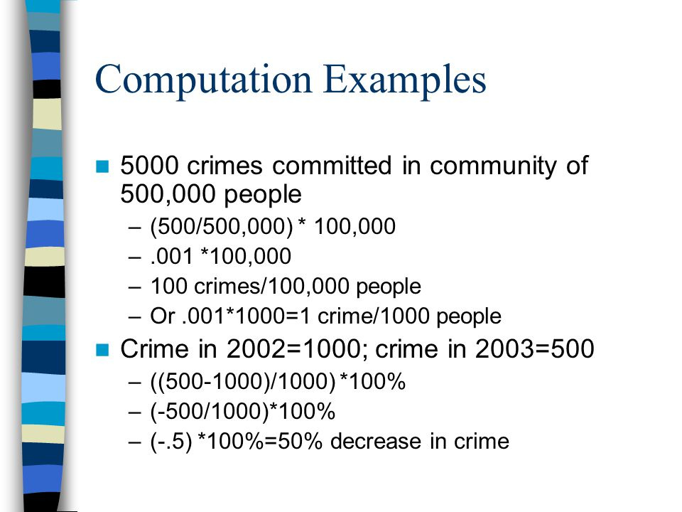 Computation Examples 5000 crimes committed in community of 500,000 people. (500/500,000) * 100,000.