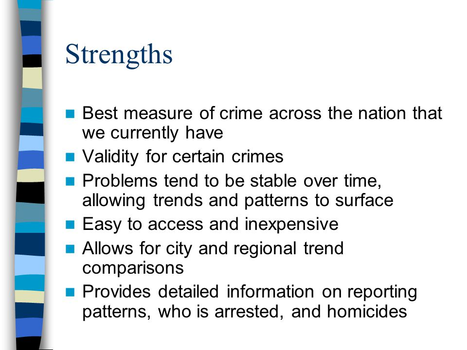 Strengths Best measure of crime across the nation that we currently have. Validity for certain crimes.