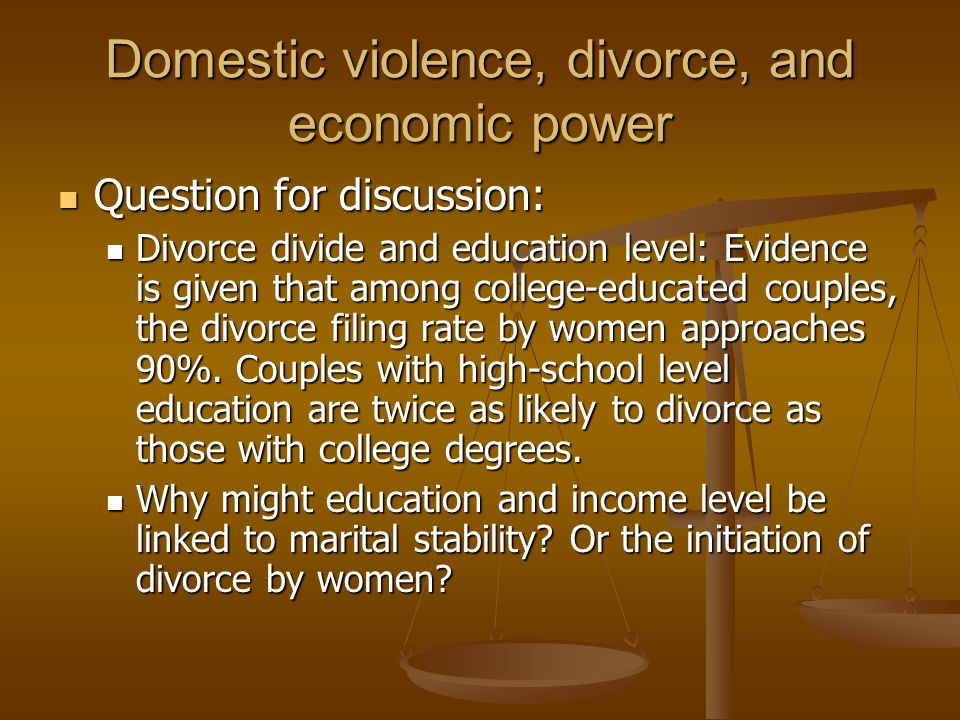 Domestic violence, divorce, and economic power