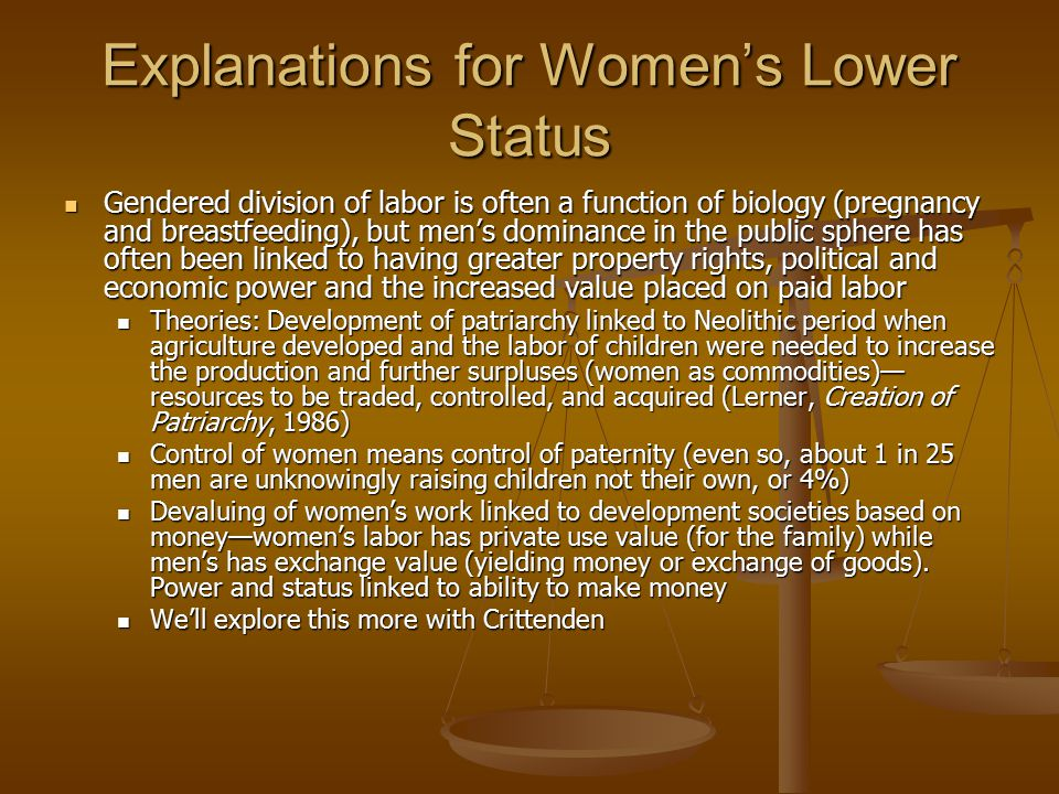 Explanations for Women's Lower Status