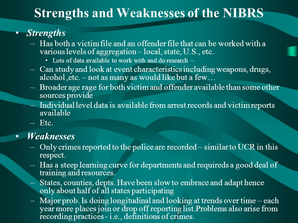 Strengths and Weaknesses of the NIBRS