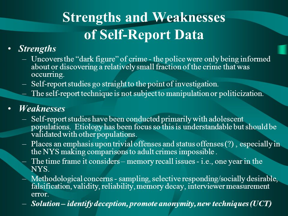 Strengths and Weaknesses of Self-Report Data