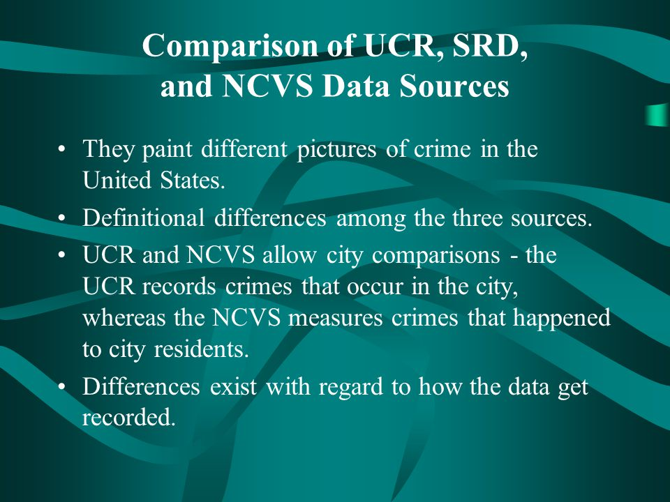 Comparison of UCR, SRD, and NCVS Data Sources