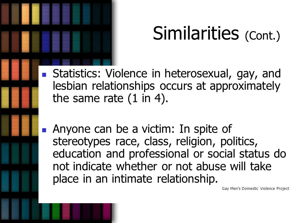 Similarities (Cont.) Statistics: Violence in heterosexual, gay, and lesbian relationships occurs at approximately the same rate (1 in 4).