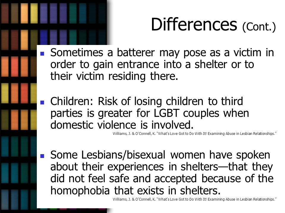 Differences (Cont.) Sometimes a batterer may pose as a victim in order to gain entrance into a shelter or to their victim residing there.
