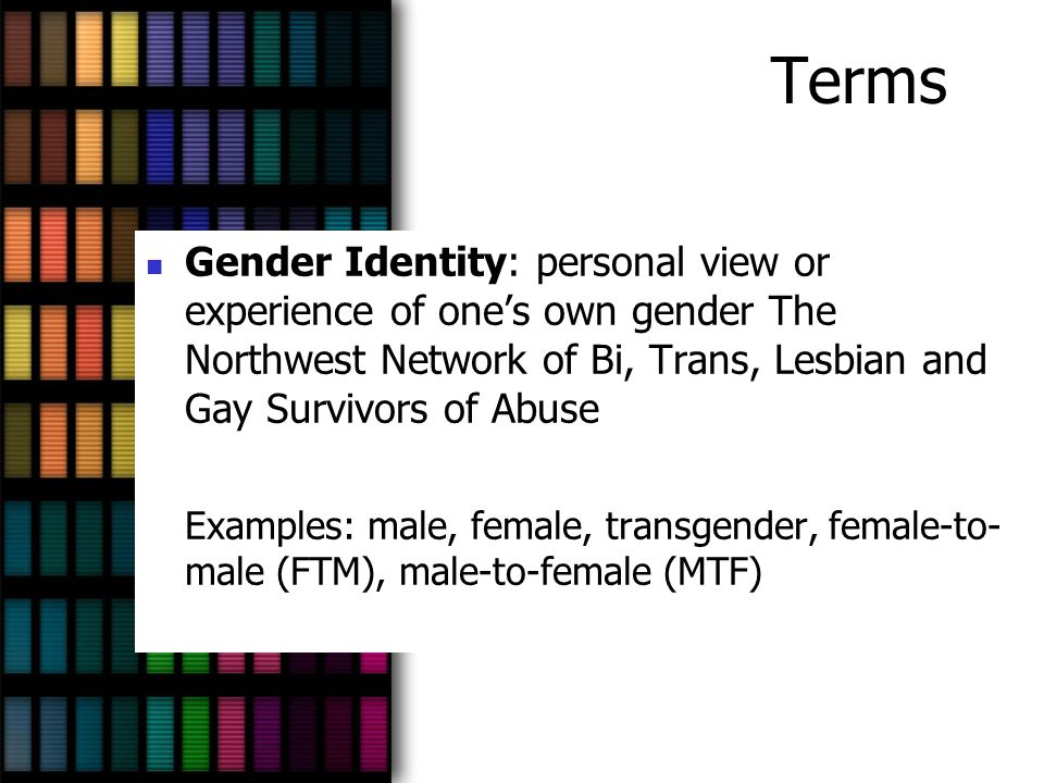 Terms Gender Identity: personal view or experience of one's own gender The Northwest Network of Bi, Trans, Lesbian and Gay Survivors of Abuse.