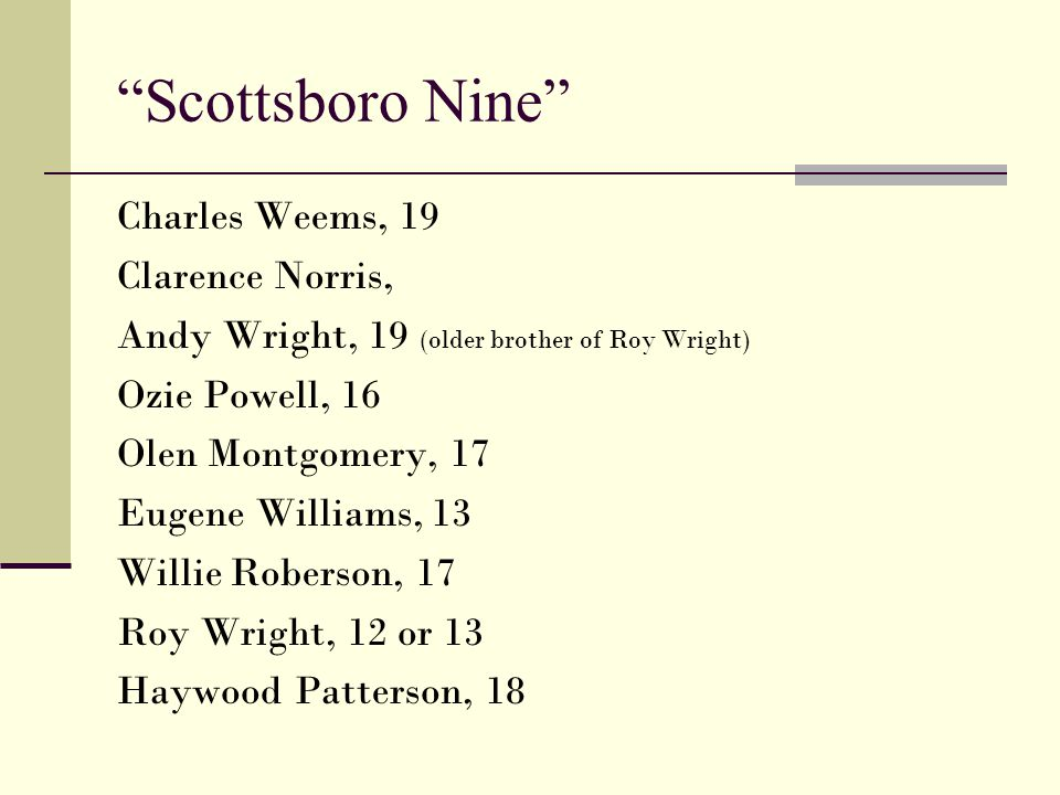 Scottsboro Nine Charles Weems, 19 Clarence Norris,