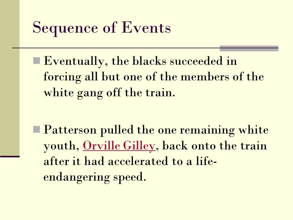 Sequence of Events Eventually, the blacks succeeded in forcing all but one of the members of the white gang off the train.