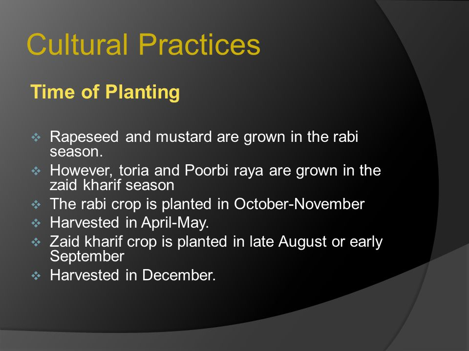 Cultural Practices Time of Planting