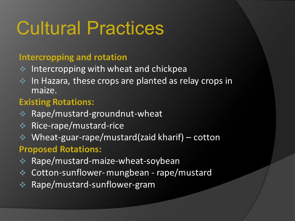 Cultural Practices Intercropping and rotation