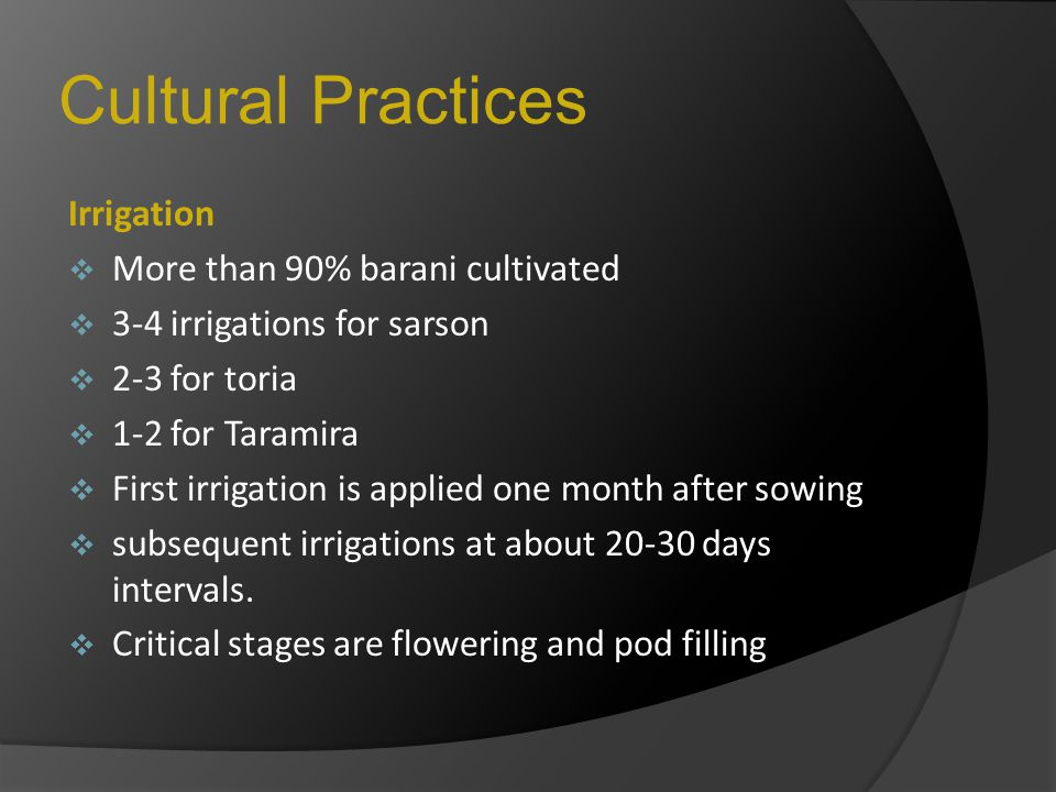 Cultural Practices Irrigation More than 90% barani cultivated