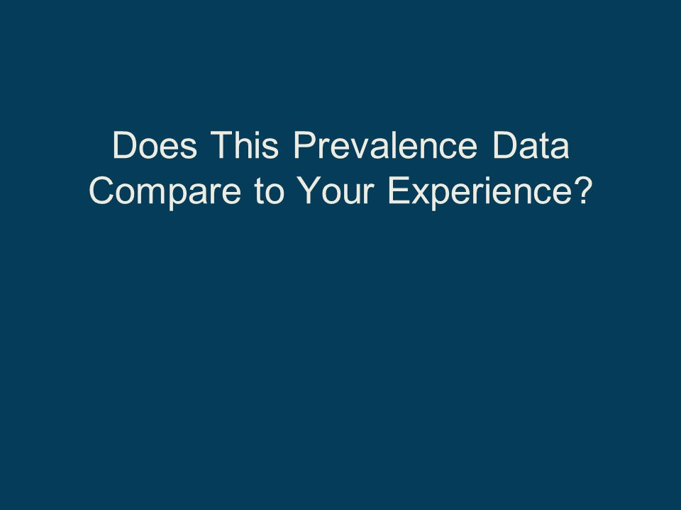 Does This Prevalence Data Compare to Your Experience