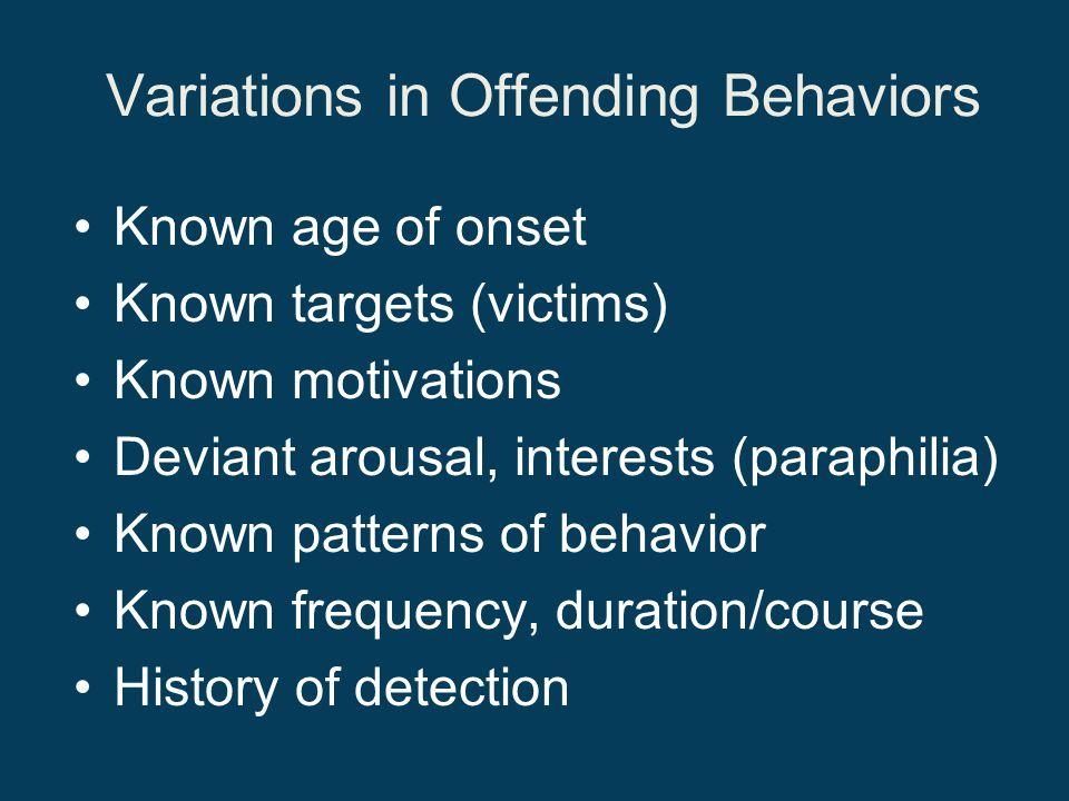 Variations in Offending Behaviors