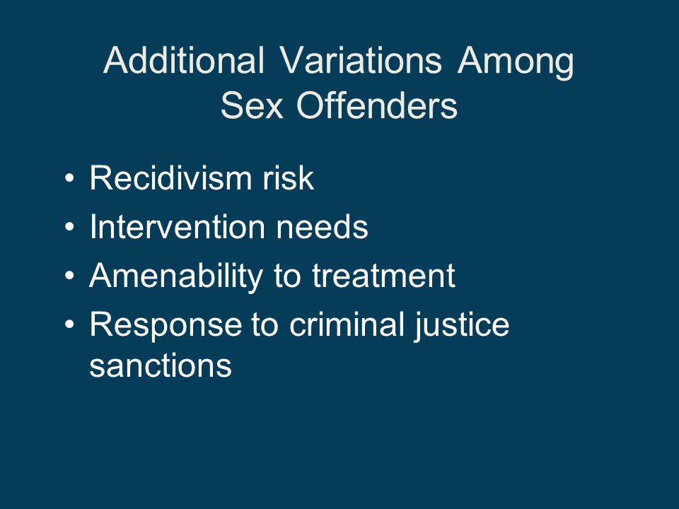 Additional Variations Among Sex Offenders
