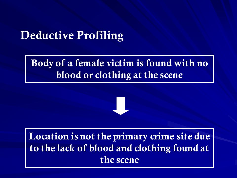 Deductive Profiling Body of a female victim is found with no blood or clothing at the scene.
