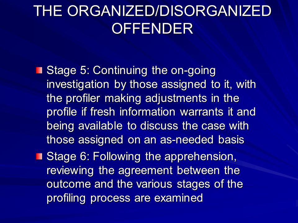 THE ORGANIZED/DISORGANIZED OFFENDER