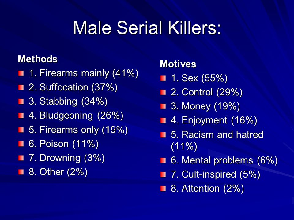 Male Serial Killers: Methods 1. Firearms mainly (41%) Motives
