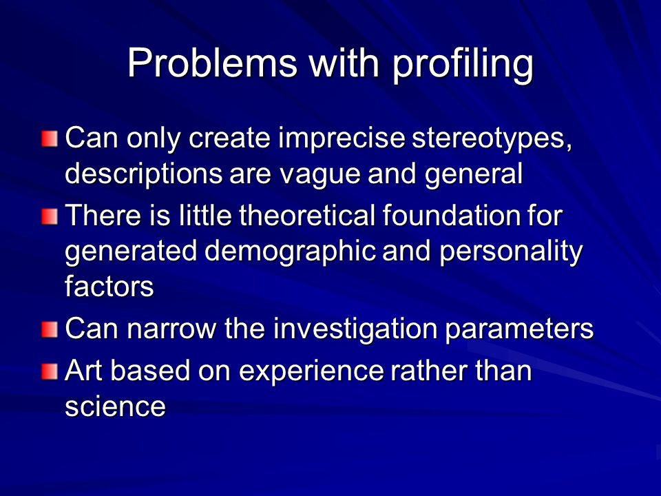 Problems with profiling