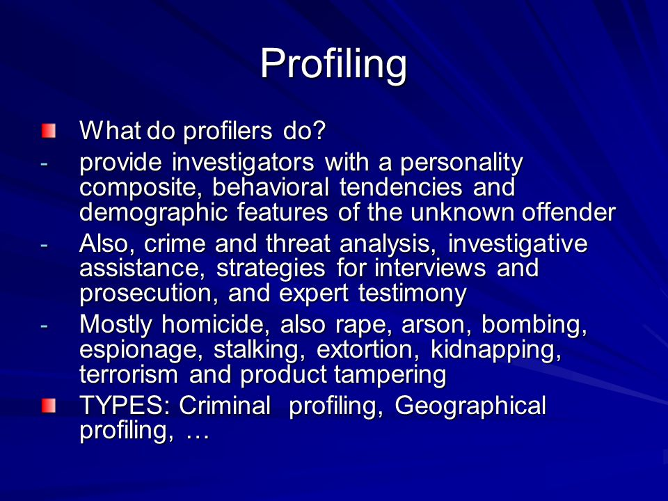 Profiling What do profilers do