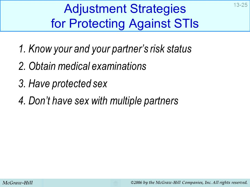 Adjustment Strategies for Protecting Against STIs