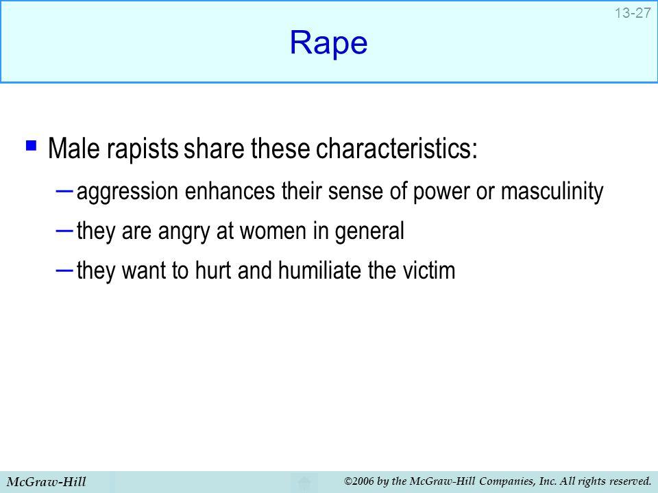 Rape Male rapists share these characteristics: