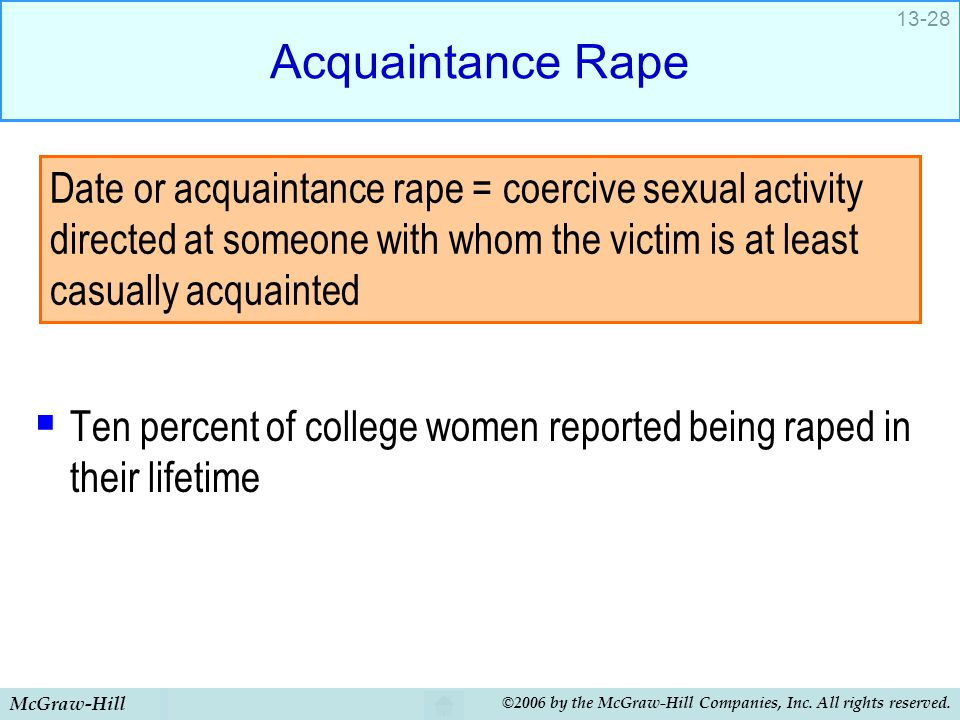 Acquaintance Rape Ten percent of college women reported being raped in their lifetime.