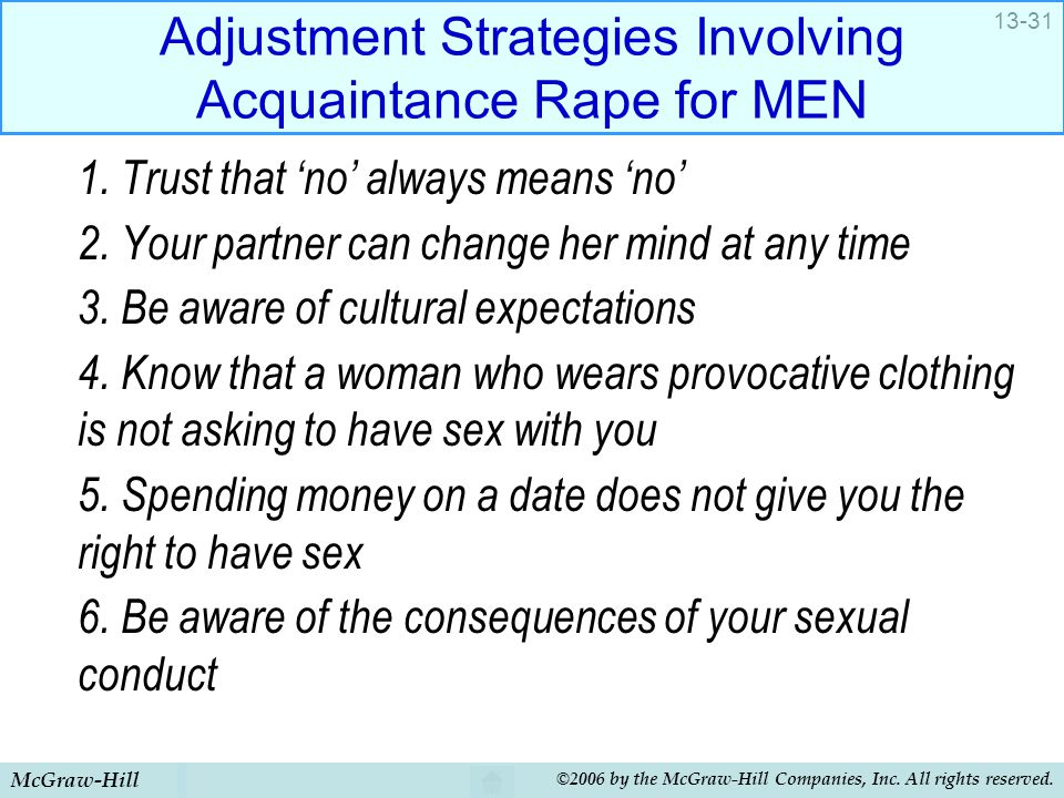 Adjustment Strategies Involving Acquaintance Rape for MEN
