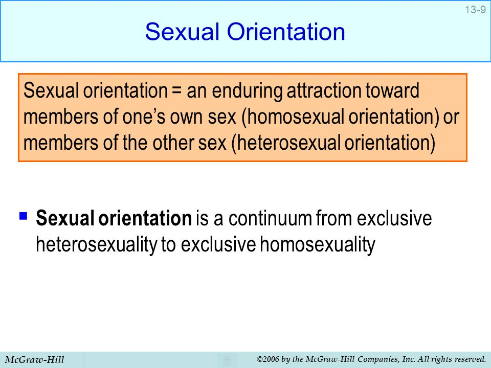 Sexual Orientation Sexual orientation is a continuum from exclusive heterosexuality to exclusive homosexuality.