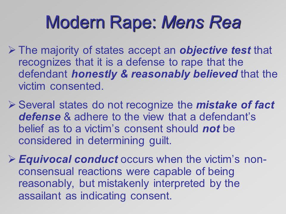 Modern Rape: Mens Rea