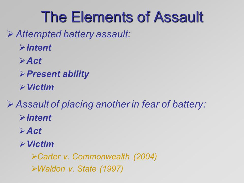 The Elements of Assault