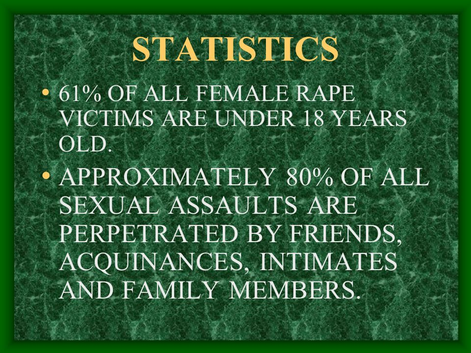 STATISTICS 61% OF ALL FEMALE RAPE VICTIMS ARE UNDER 18 YEARS OLD.