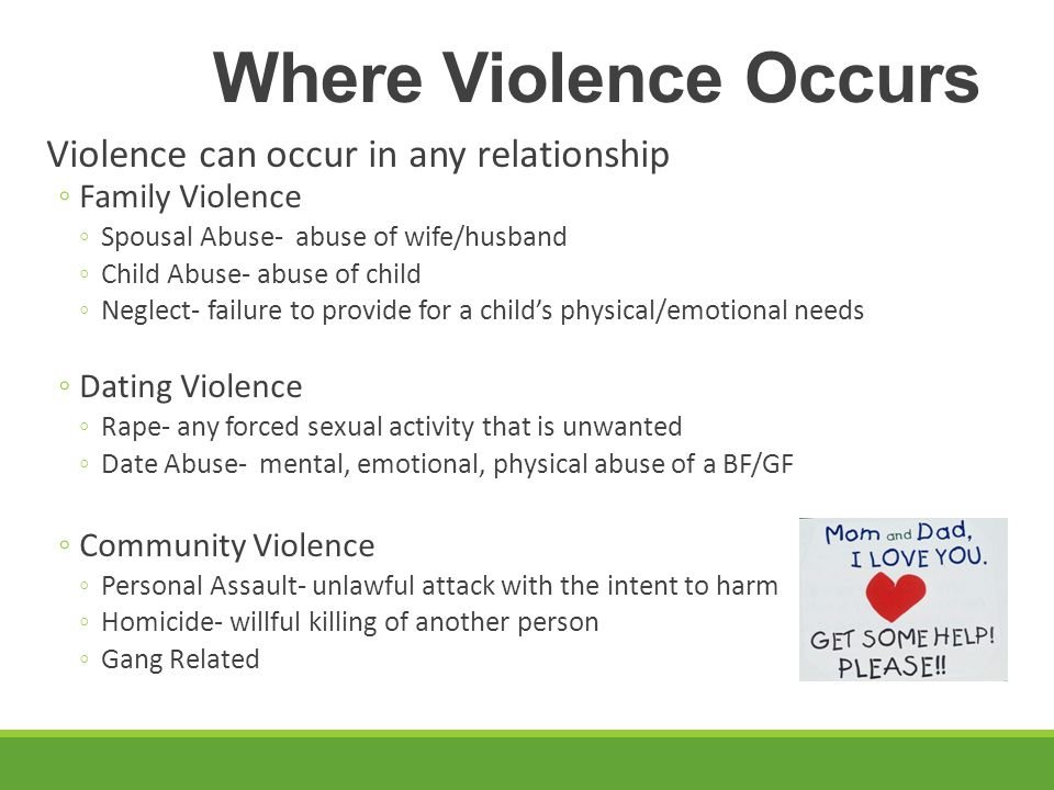 Where Violence Occurs Violence can occur in any relationship