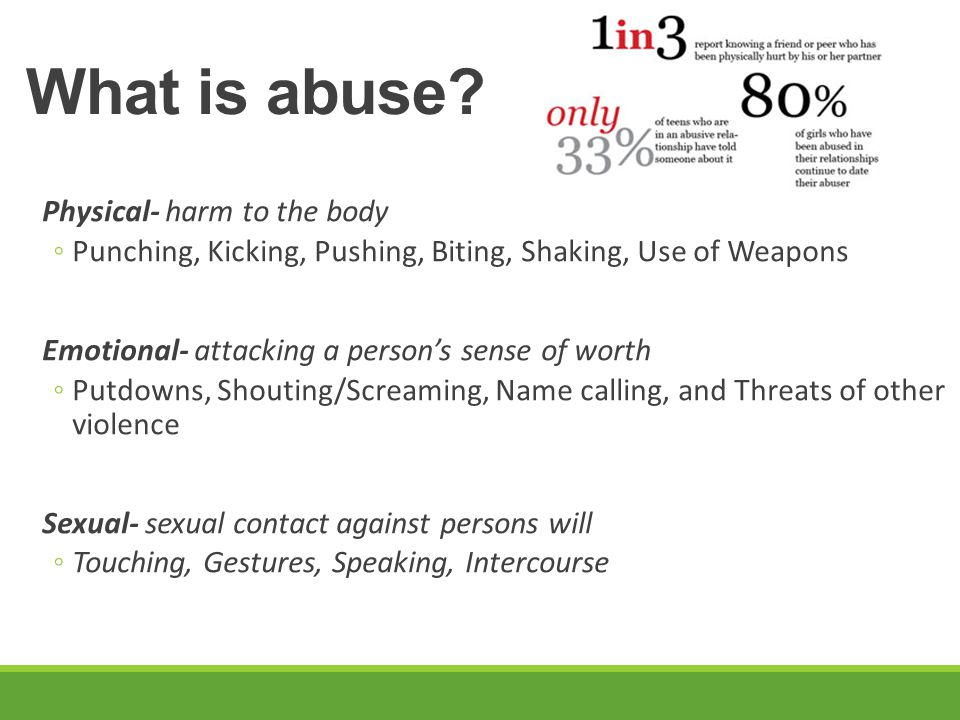 What is abuse Physical- harm to the body