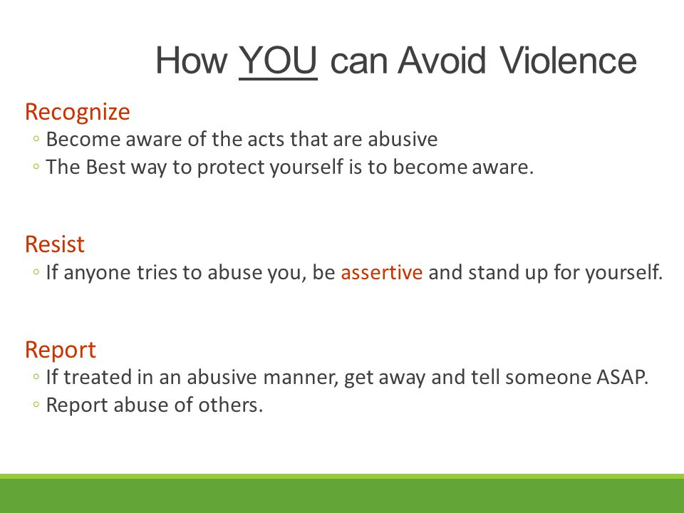 How YOU can Avoid Violence